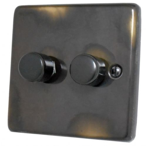 G&H CAN12 Standard Plate Polished Aged Brass 2 Gang 1 or 2 Way 40-400W Dimmer Switch